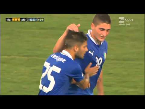 Italia-Argentina 1-2 - Bellissimo gol di LORENZO INSIGNE - Cronaca di Riccardo Cucchi (Radio Rai)