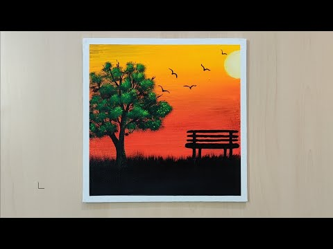 Simple Sunset Landscape Painting Tutorial || Acrylic Painting #23