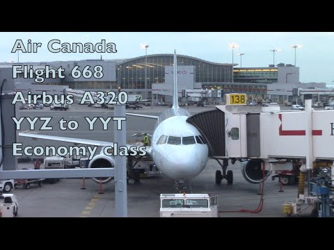 Air Canada A320 Flight AC688 YYZ To YYT Econamy Class