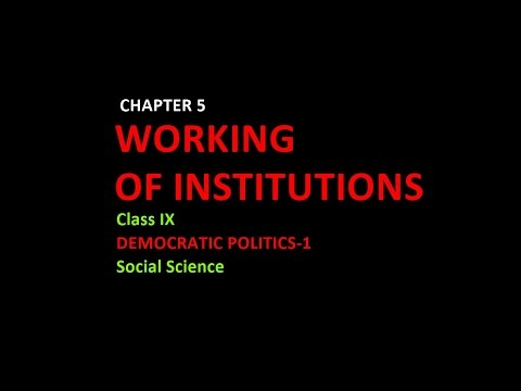 WORKING OF INSTITUTIONS (Class 9, Social Science;Democratic Politics-1)