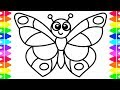 LEARN HOW TO DRAW A BUTTERFLY EASY| COLORING PAGES FOR KIDS| TODDLERS| BABIES| COLORED MARKERS