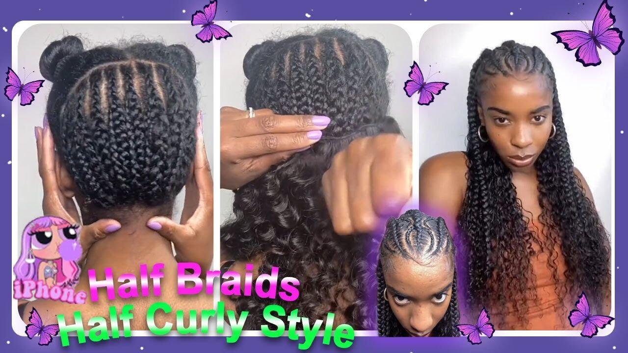 🖐🏽Half Fulani Braids/Half Sew-In Tutorial! Natural Curly Human Bundles Ft. #ULAHAIR