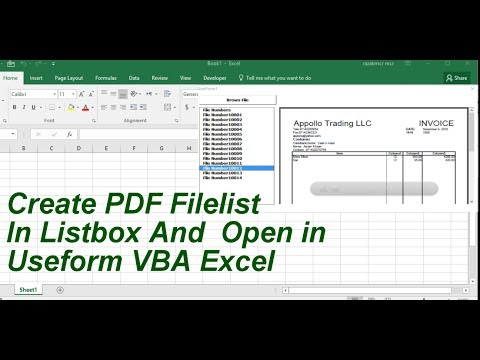 Create Pdf PlayLlst In Userform And Open Pdf File Excel VBA