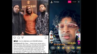 "21 Savage RESPONDS to T.I. saying ""Him, JEEZY & Ludacris are the KINGS of ATLANTA"" on INSTAGRAM LIVE"