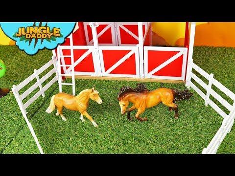 Shower Horses in Red Barn! Breyer Spring Creek Stable farm animal toys