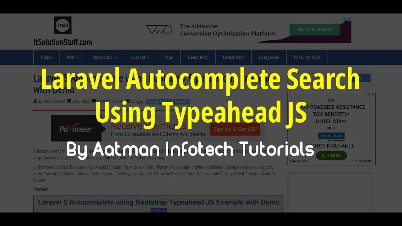 Laravel 5 Autocomplete using Bootstrap Typeahead JS Example with