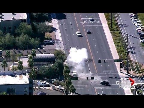 High speed police pursuit culminates with violent, head-on crash in Arizona