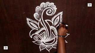Simple Kolam rangoli without Using Dots|| maitrin 2018 #kolam #rangoli #veryEasy