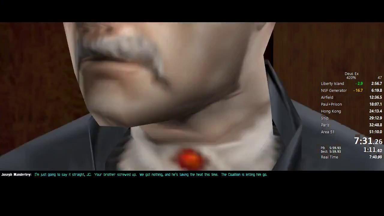 Deus Ex 420 Zyme Speedrun In 4645 Wo Loads Pbwr Youtube