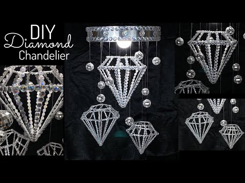 Dollar Tree DIY New Years Eve Floating Diamonds Glam Party Chandelier 2019