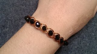 Simple knot bracelet with crystal - How to make wire jewelry 105