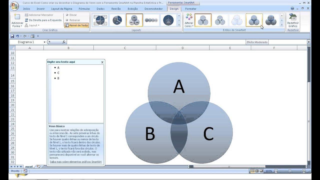 Curso de excel como criar desenhar diagrama de venn com ferramenta curso de excel como criar desenhar diagrama de venn com ferramenta smartart na planilha estatstica ccuart Image collections