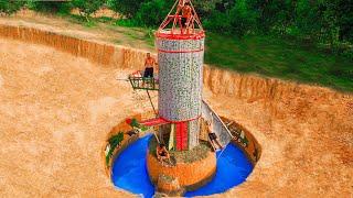 Build Underground Swimming Pool Water Slide Around Secret Rocket-Shaped Underground House