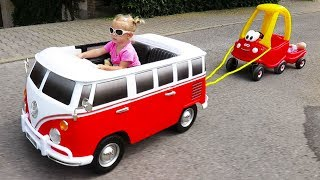 Little Girl Elis Ride On Wheels On The Bus Power Wheel with Cozy Coupe Little Tikes and Dolls Crew