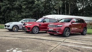 RR SVR vs Cherokee SRT vs Cayenne Turbo - Top Gear: Drag Races