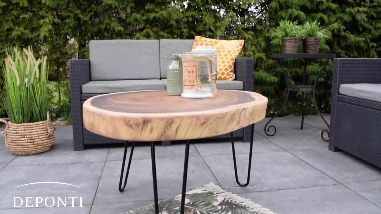 Verwonderend Ronde boomstamtafel van Suar hout - YouTube LB-29