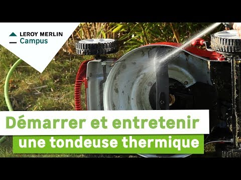 comment d marrer et entretenir une tondeuse thermique leroy merlin youtube. Black Bedroom Furniture Sets. Home Design Ideas