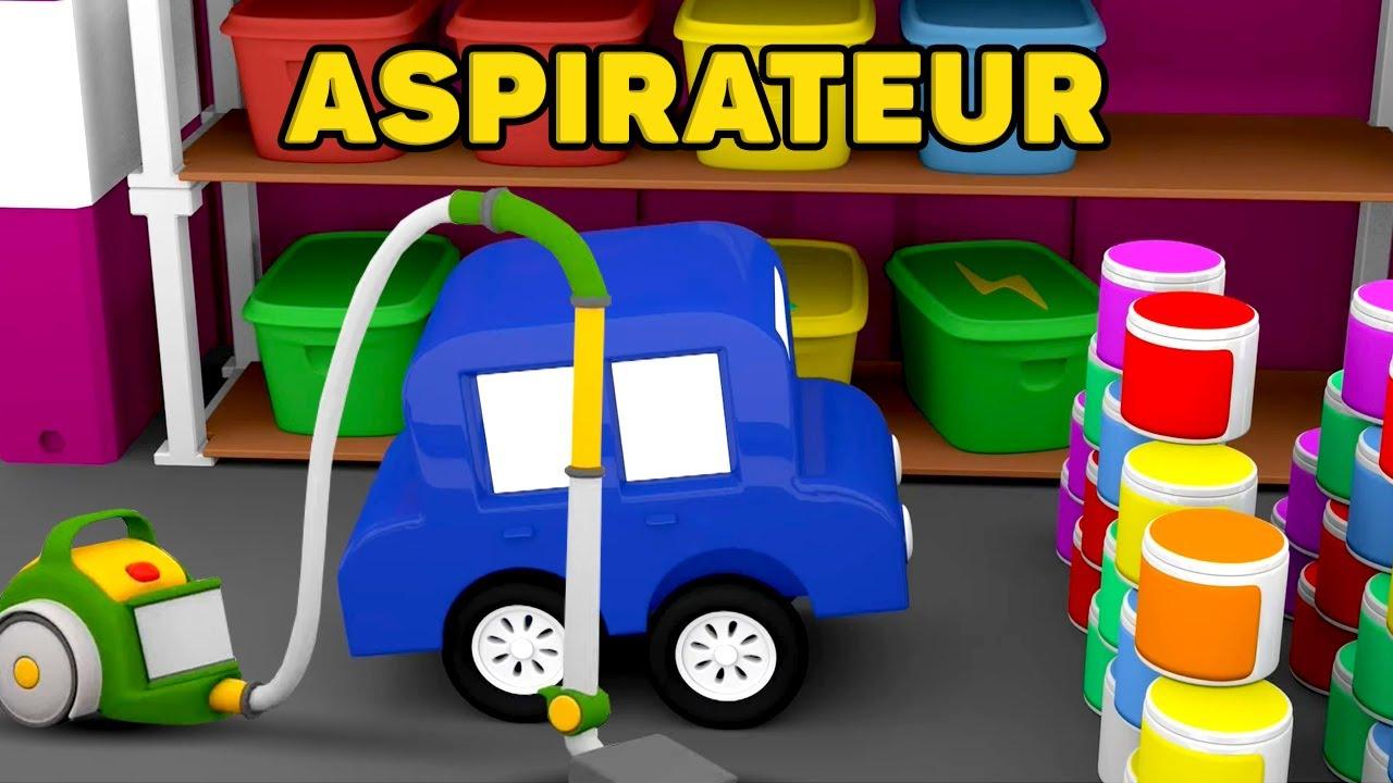 Dessin animé en français pour enfants. 4 voitures colorées : assemblage d'un aspirateur