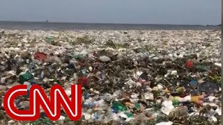 See wave of garbage crash off the Dominican Republic
