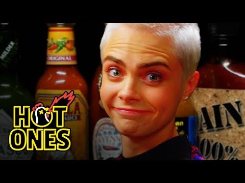 Cara Delevingne s Her Hot Sauce Balls While Eating Spicy Wings  Hot Ones