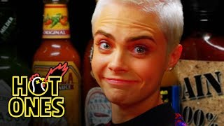 Cara Delevingne Shows Her Hot Sauce Balls While Eating Spicy Wings   Hot Ones by : First We Feast