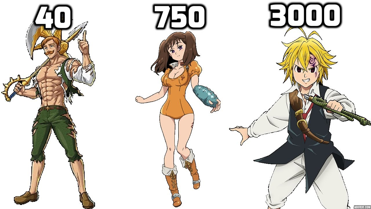 Seven deadly sins all characters age comparison