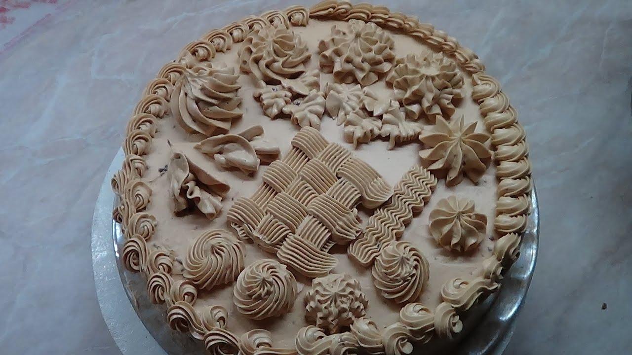 Как украсить торт кремом. - YouTube