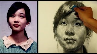 Drawing a portrait with pencil | a young girl Portrait