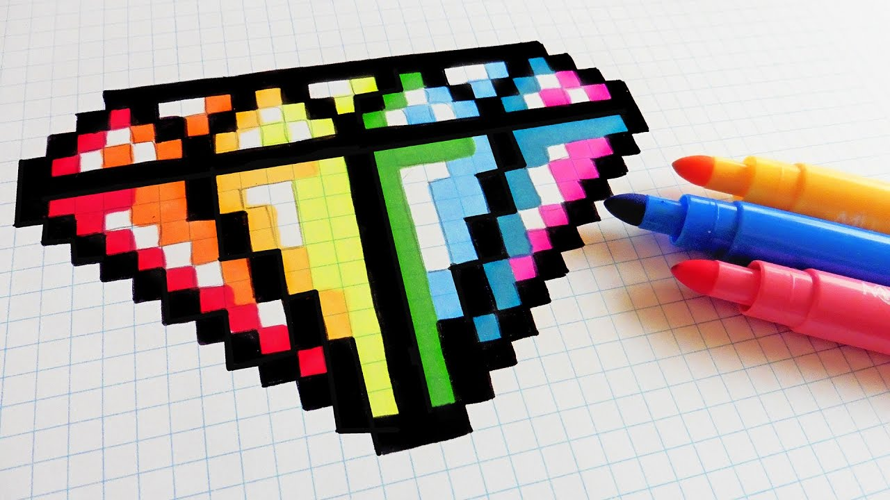 Handmade Pixel Art How To Draw Rainbow Diamond Pixelart