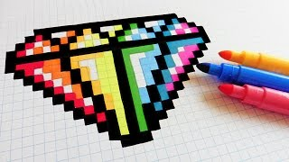 Handmade Pixel Art - How To Draw Rainbow Diamond #pixelart
