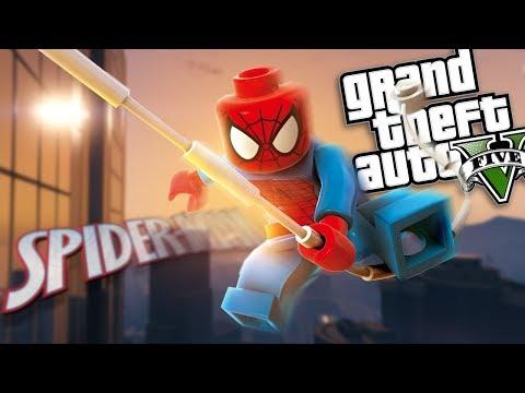 GTA 5 Mods - LEGO SPIDERMAN MOD W/ POWERS (GTA 5 PC Mods Gameplay)