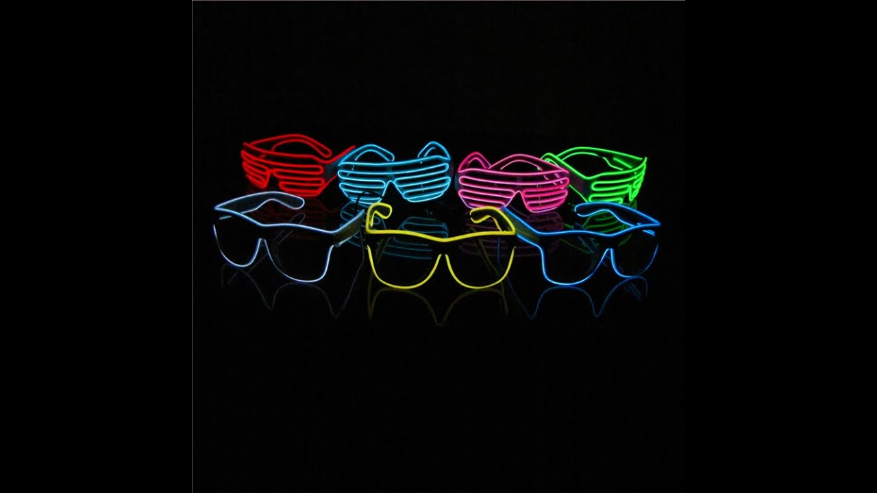 7b258104ce Light up Shutter Shades EL Wire Glasses - YouTube