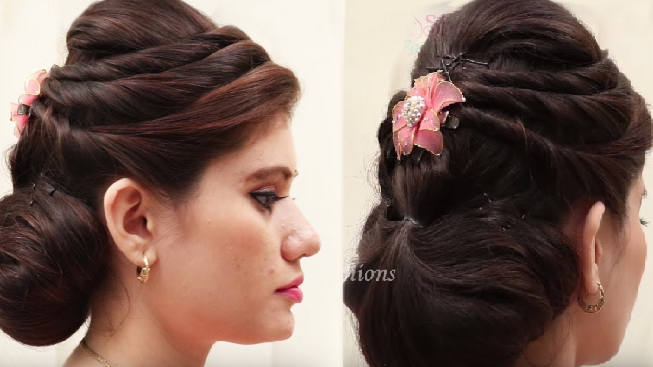 3 beautiful hairstyles with puff || easy wedding hairstyles - youtube