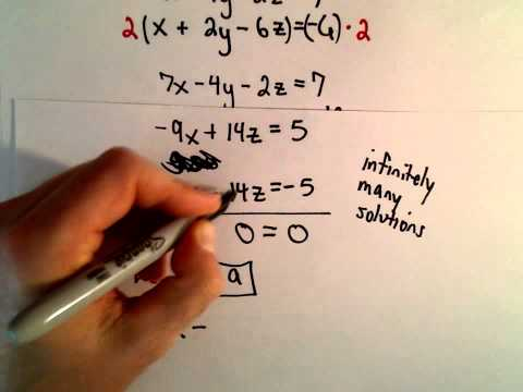 System Of 3 Equations, 3 Unknowns Using Elimination - Ex 3
