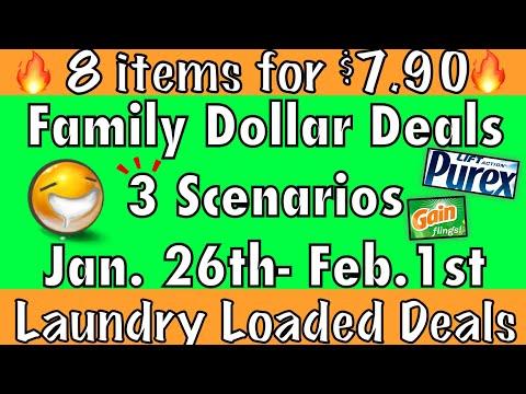 FAMILY DOLLAR Deals//3 Scenarios//LAUNDRY LOADED//8 Items + $7.90 Oop//$0.99 Per Item!!