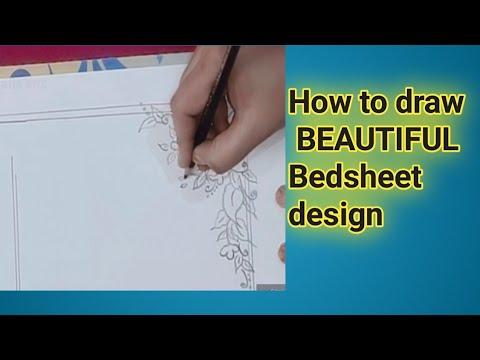 How to draw bedsheet (chadar)design ! corner design tutorial /Aafia arts thumbnail