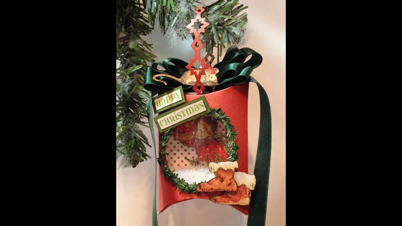 Graphic pillow box christmas ornaments tutorial using