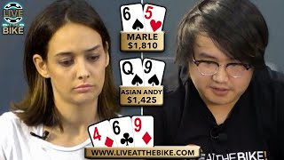 FAMOUS YOUTUBERS BATTLE on the Poker Table!!! Asian Andy vs Marle ♠ Live at the Bike!