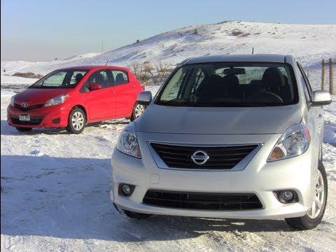 2012 Nissan Versa vs Toyota Yaris Mashup Review 0 60 MPH Drive