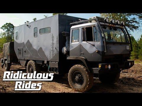 Par förvandlade militärlastbil till husbuss