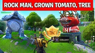 Search Between a giant Rock man, a Crowned Tomato and an Enircircled tree - LOCATION WEEK 5 Fortnite