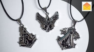 Assassin's Creed Insignia Logo Symbol Metal Necklace Pendants 3pcs In Hand Review