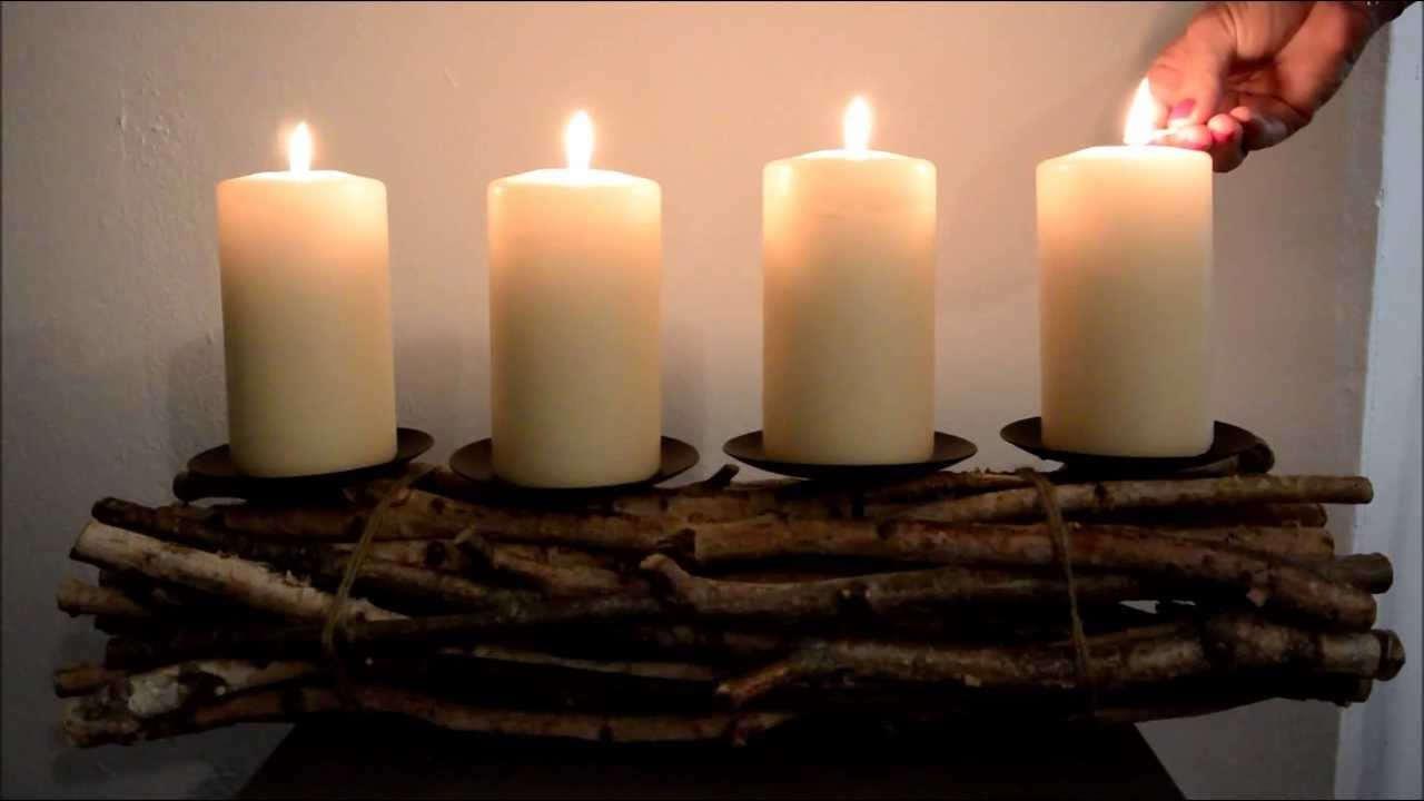 Adventskranz Holz - YouTube