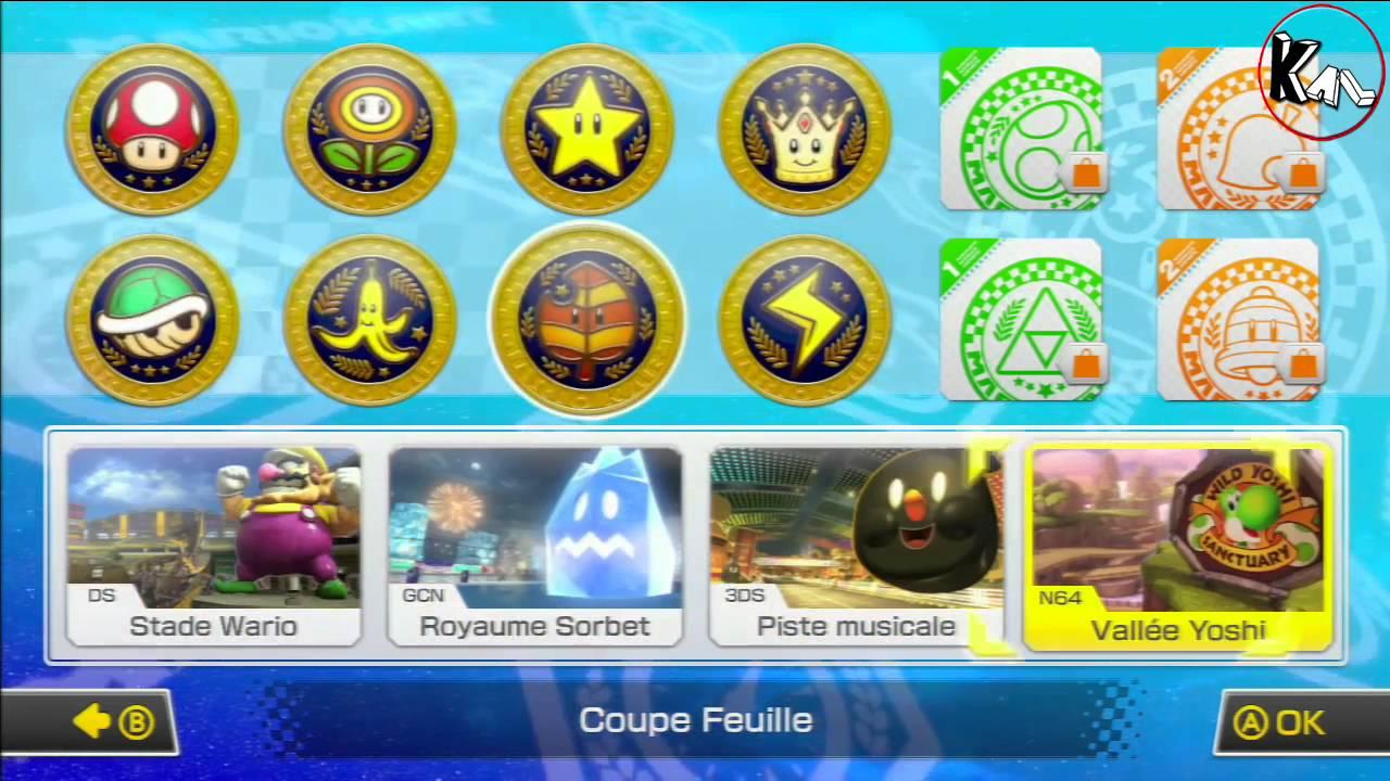Mario kart 8 maj raccourcis coupe eclair feuille delta for Coupe miroir mario kart wii