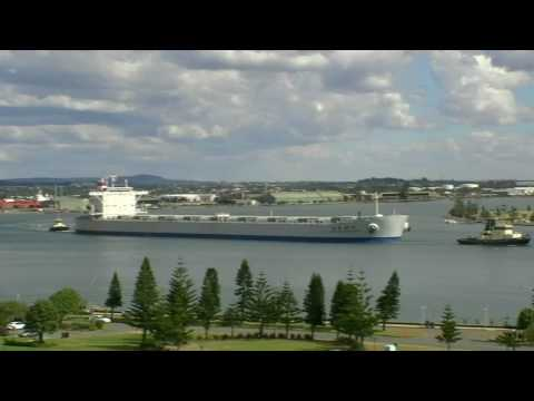 MV China Steel Excellence departing Newcastle harbour