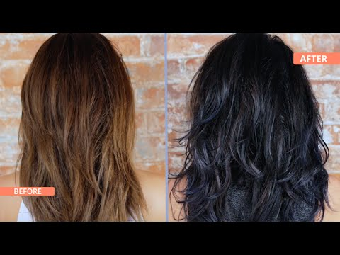 How to Black & Blue Ombre / Dip Dye Your Hair - YouTube