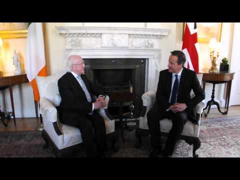 President Michael D Higgins meets British Prime Minister David Cameron