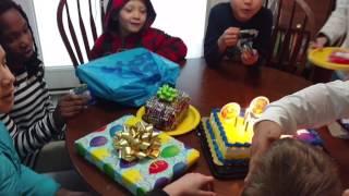 Wyatt Bennett happy birthday cake Jan 2017 brother sister Lawson