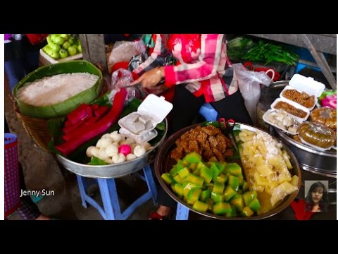 Asian Street Food, Cambodian Market Street Food At Kampot Province