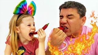 Nastya và Bố, Thử Thách Đồ Ăn Thật Vs Đồ Ăn Giả